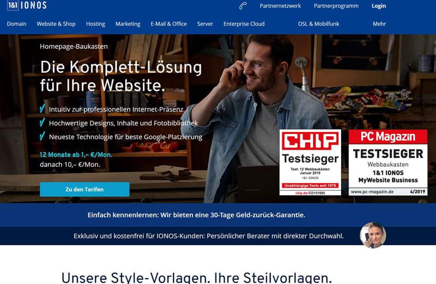 1und1 IONOS Homepage Baukasten