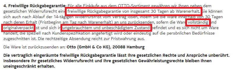 AGB Rückgaberecht von otto.de