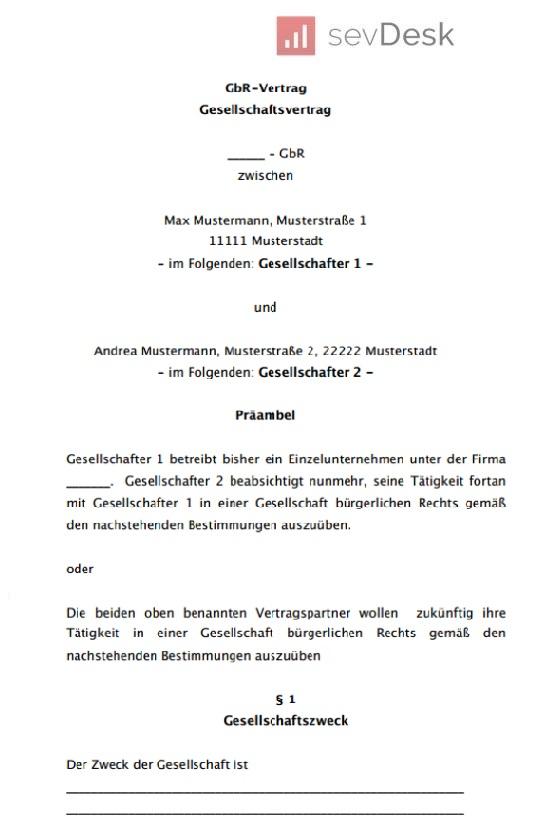 sevDesk-GbR-Vertrag-Muster