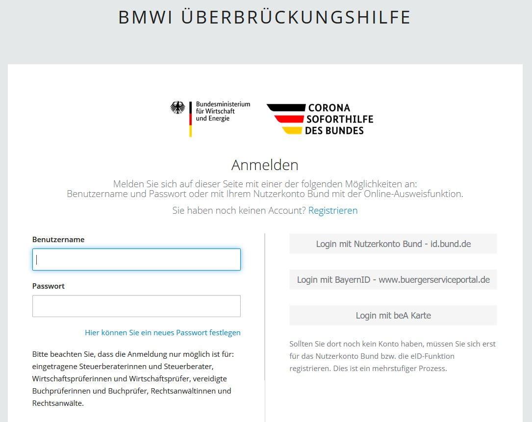 Antrag Überbrückungshilfe BMWI