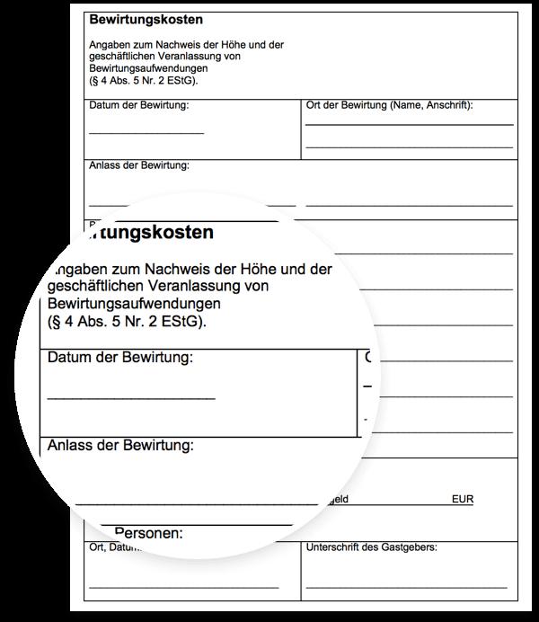 Bewirtungsbeleg Muster Vorlage für Microsoft Word