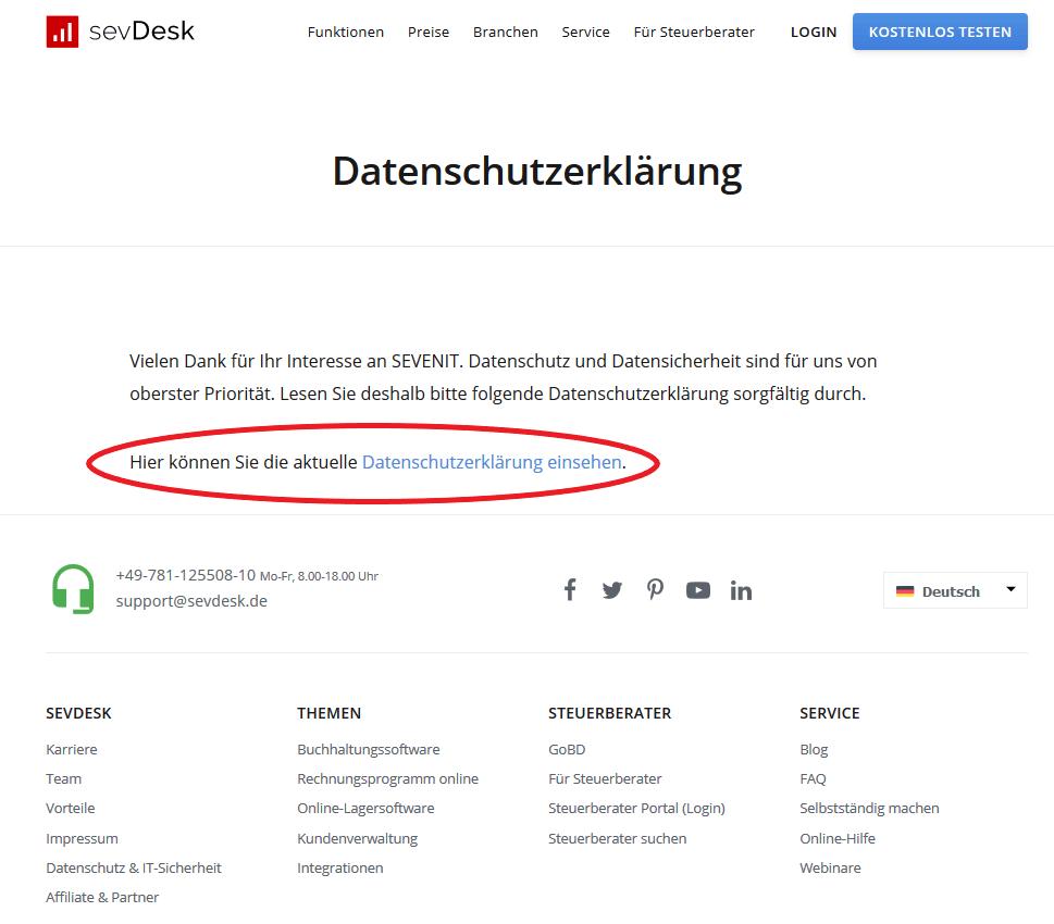 Datenschutzerklärung auf der Website