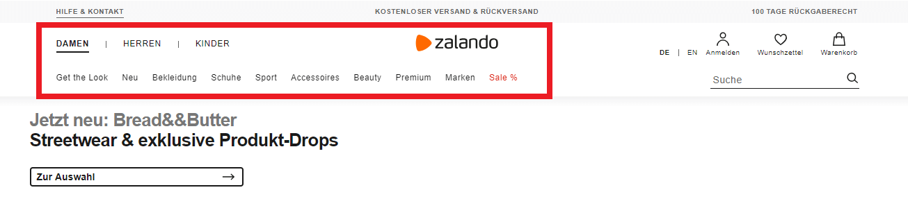 Design Website Beispiel Zalando