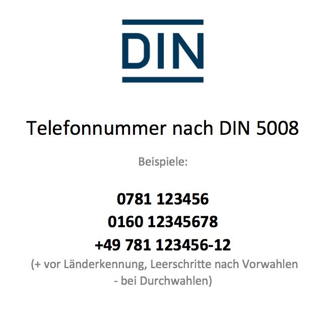Telefonnummer DIN