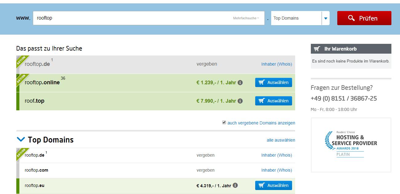 Domainkauf auf United Domains
