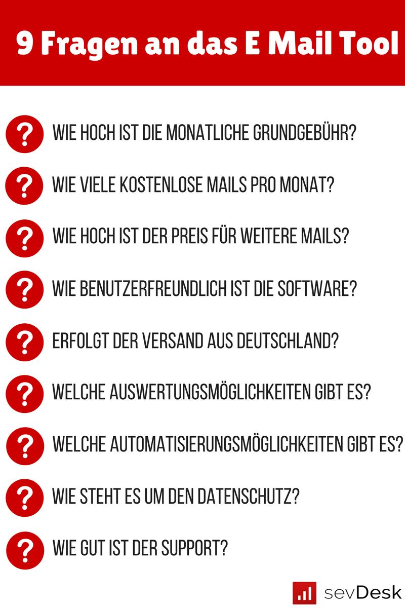 Fragen an ein E-Mail-Marketing Tool.