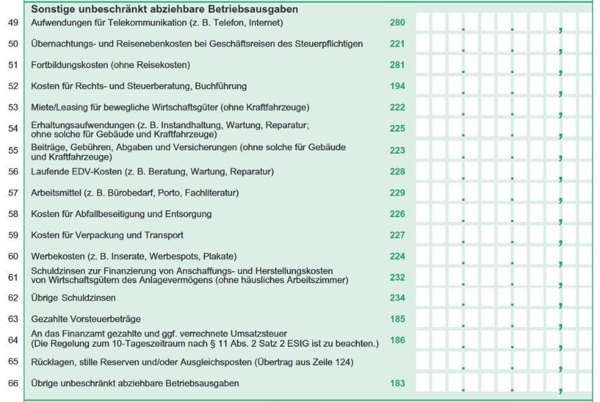 EUER Formular sonstige Betriebsausgaben