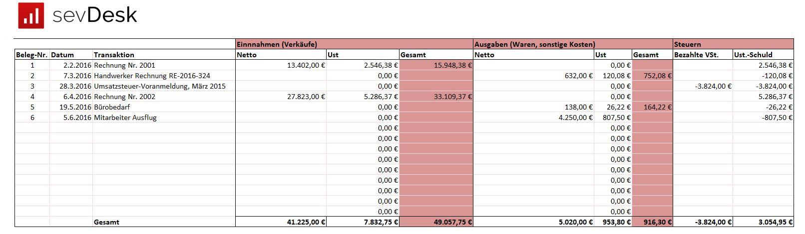 EUER Vorlage in Excel