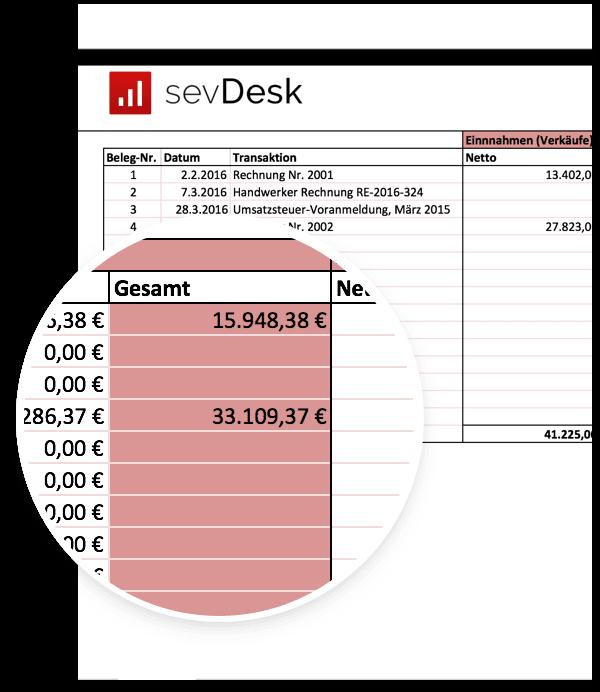 EÜR Einnahmen-Überschuss-Rechnung Vorlage Muster für Excel