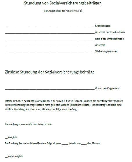 Formular Stundung von Sozialversicherungsbeitraegen