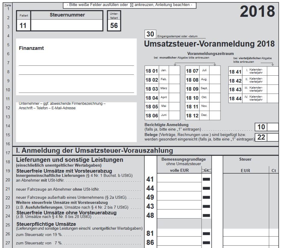 Umsatzsteuer-Voranmeldung Formular