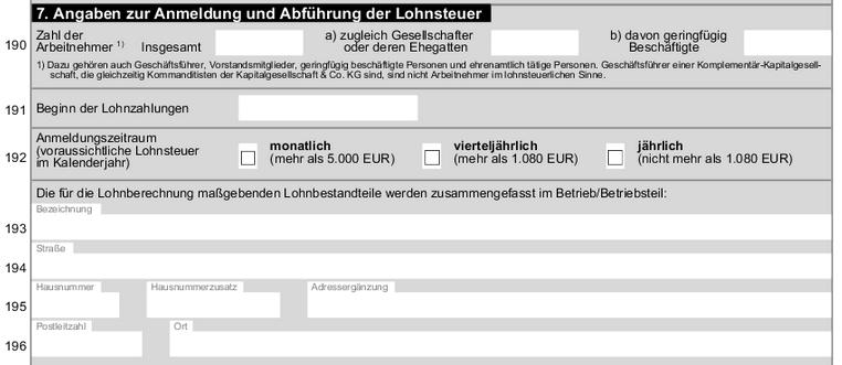 Lohnsteuer Formular