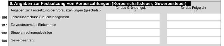 Fragebogen Vorauszahlung