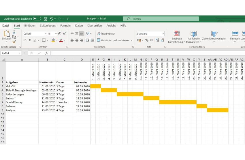 Gantt Diagramm Excel