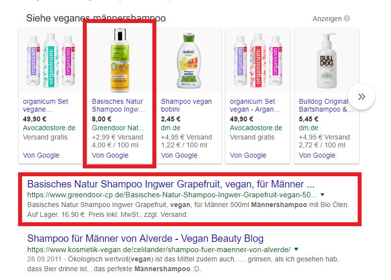 Google Suche veganes Männershampoo