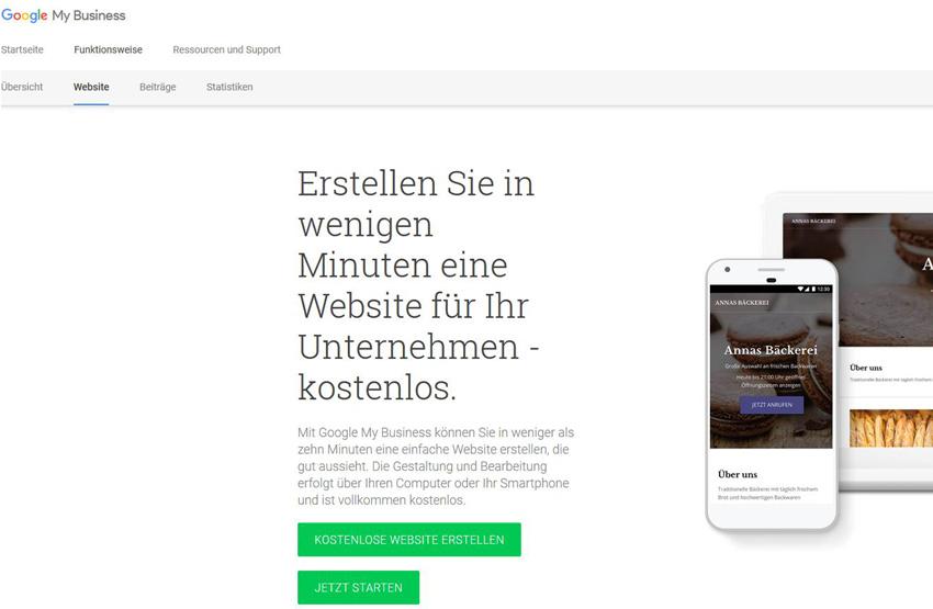 Google My Business Website erstellen