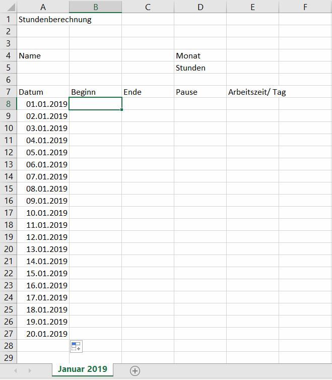 Grundgeruest Zeiterfassung Excel