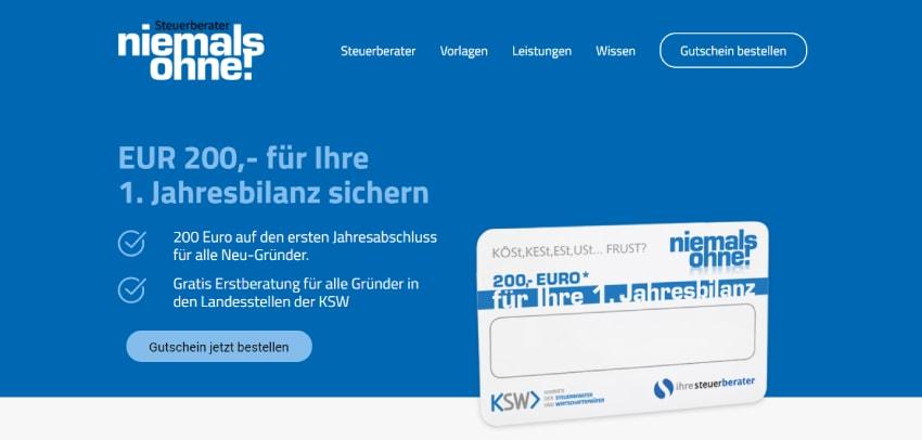 Webseite Gutschein der Steuerberaterkammer Oesterreich