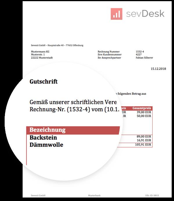 Gutschrift Vorlage Muster Zum Gratis Download Für Word Von Sevdesk