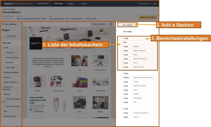 Inhalt auf Amazon Shop einrichten