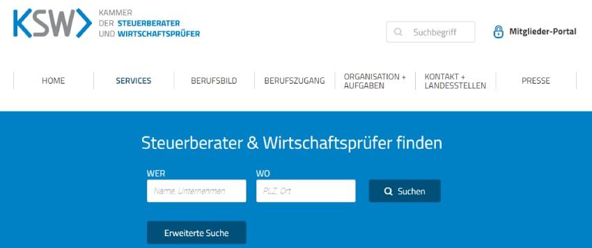 Webseite der Kammer der Steuerberater und Wirtschaftsprüfer Oesterreich