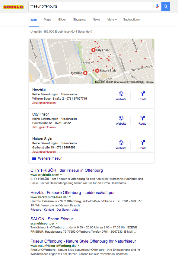Lokale Suchergebnisse