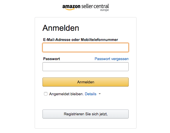Bei Amazon anmelden