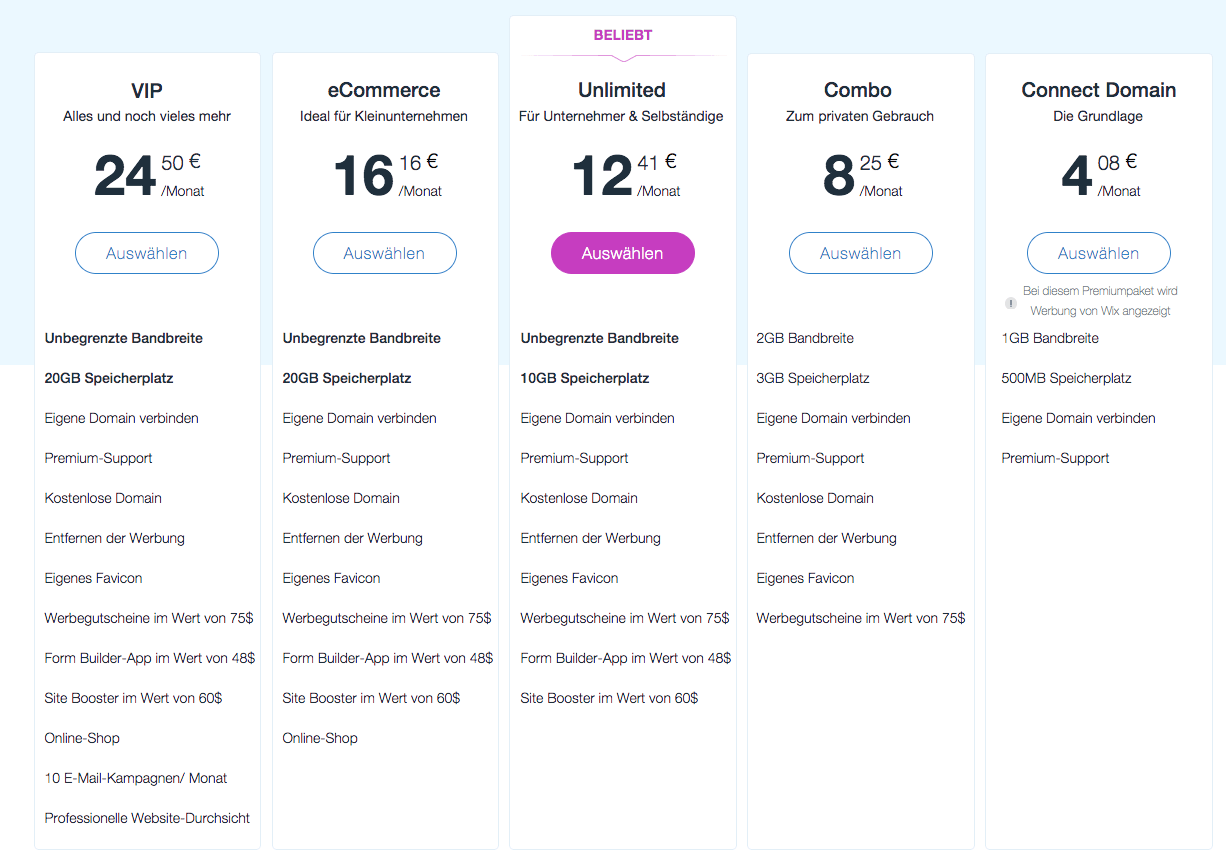 Beispiel wix Preisvergleich