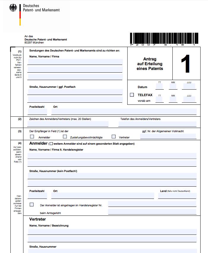 Anmeldeformular zum Patent anmelden