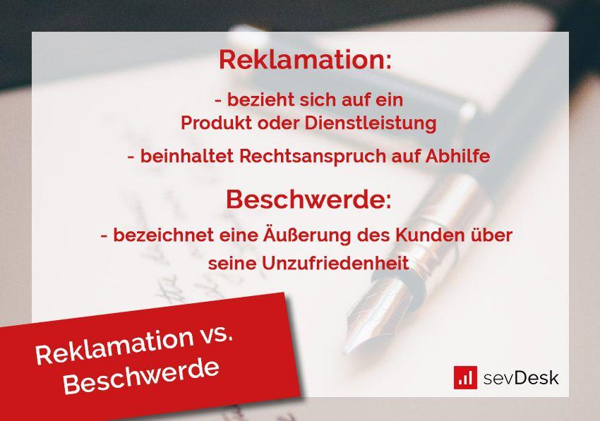 Unterschied von Reklamation und Beschwerde