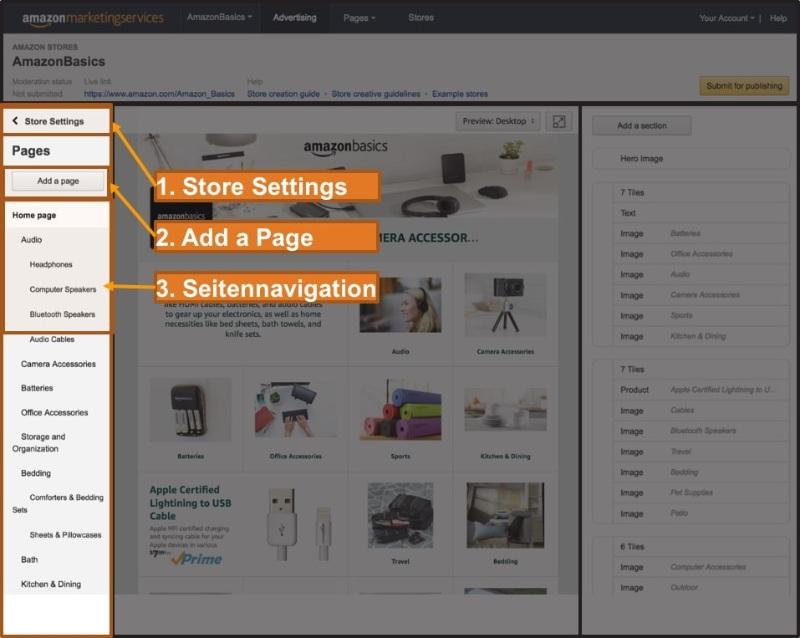 Seitenverwaltung vom Amazon Shop