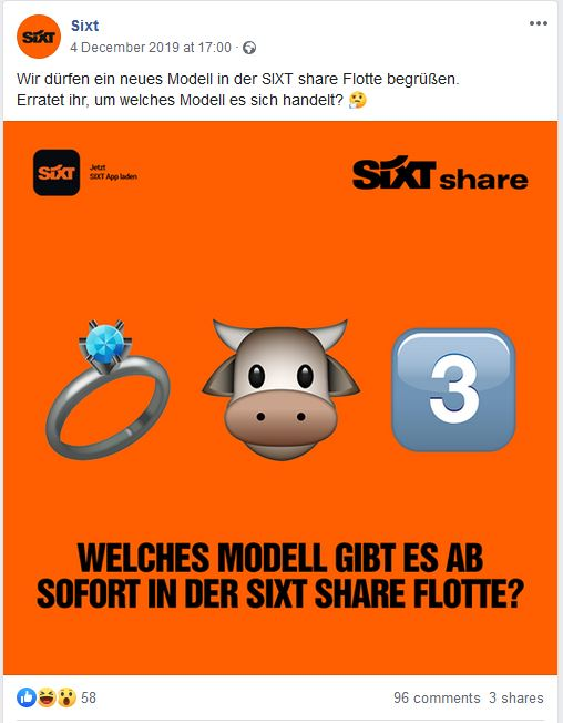 Social Media Strategie Beispiel Sixt