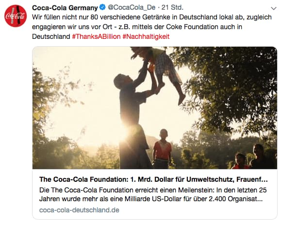 Coca-Cola Foundation Post auf Twitter