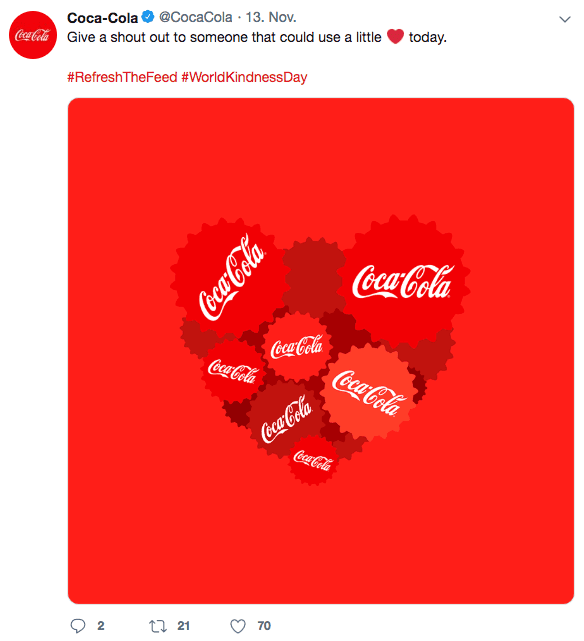 Twitter Post von Coca-Cola zum Kindness Day 2018