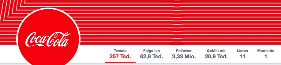 Twitter Profil von Coca-Cola