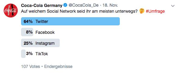 Umfrage auf dem Twitter Profil von Coca-Cola