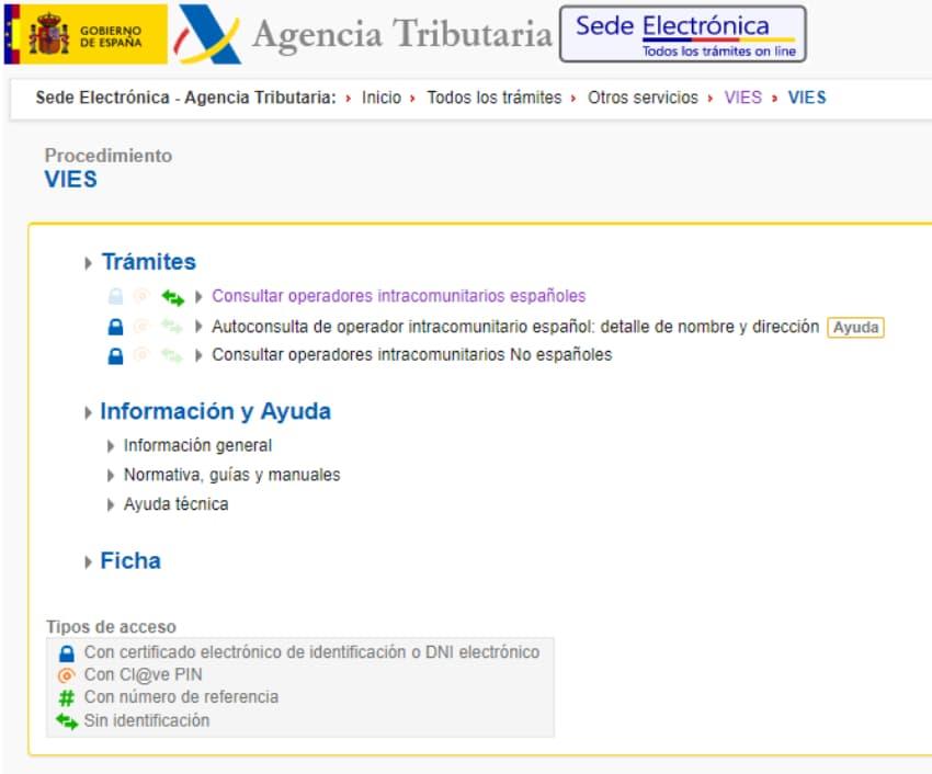 registro de operadores intracomunitarios vies agencia tributaria de espana