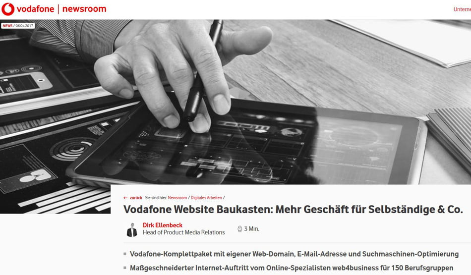 Vodafone Website Baukasten