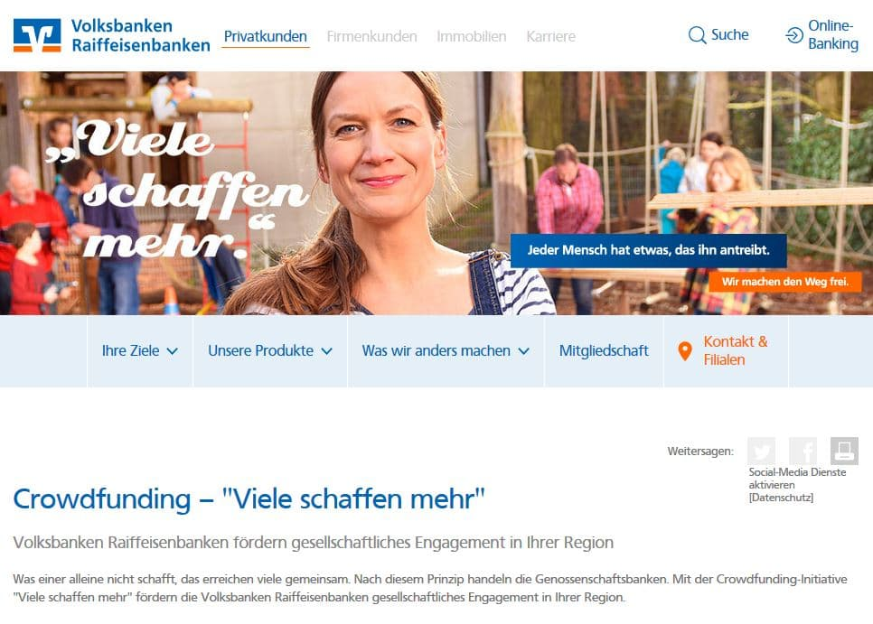 Viele schaffen mehr Crowdfunding Initiative
