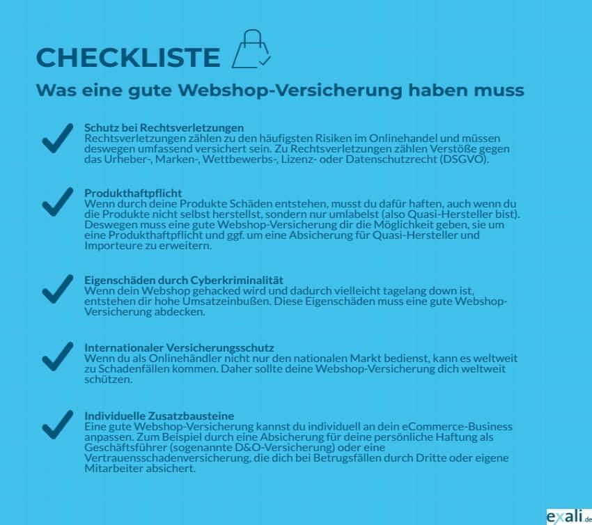 Leistungen einer Webshop-Versicherung: Checkliste