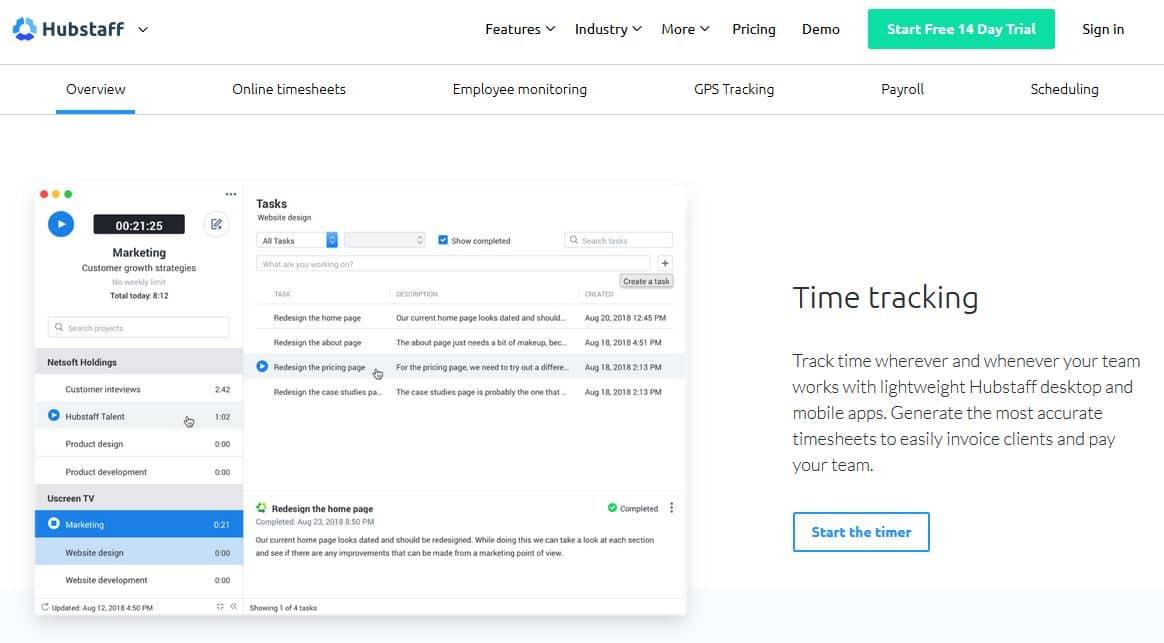 Zeiterfassung App Hubstaff
