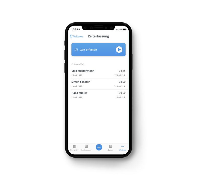 Zeiterfassung mit der sevDesk App