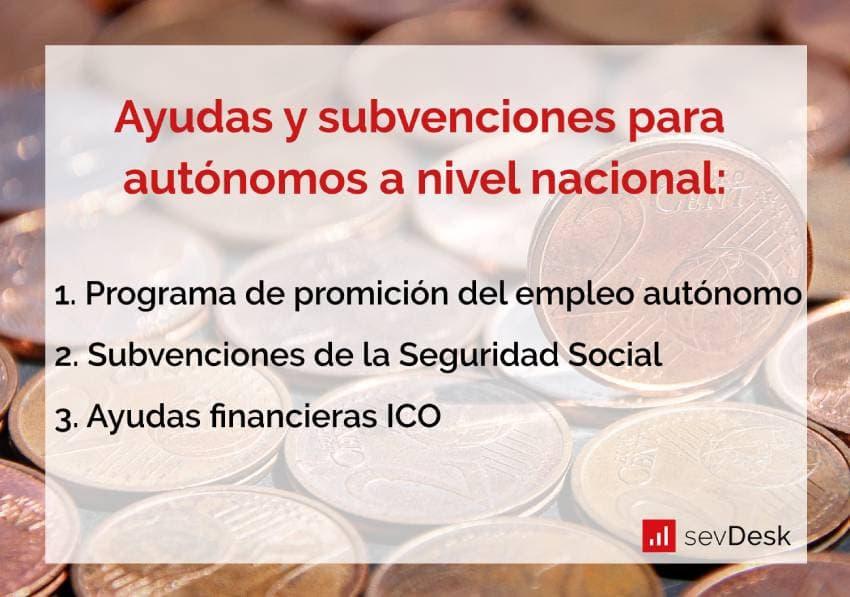ayudas y subvenciones autonomos a nivel nacional en espana
