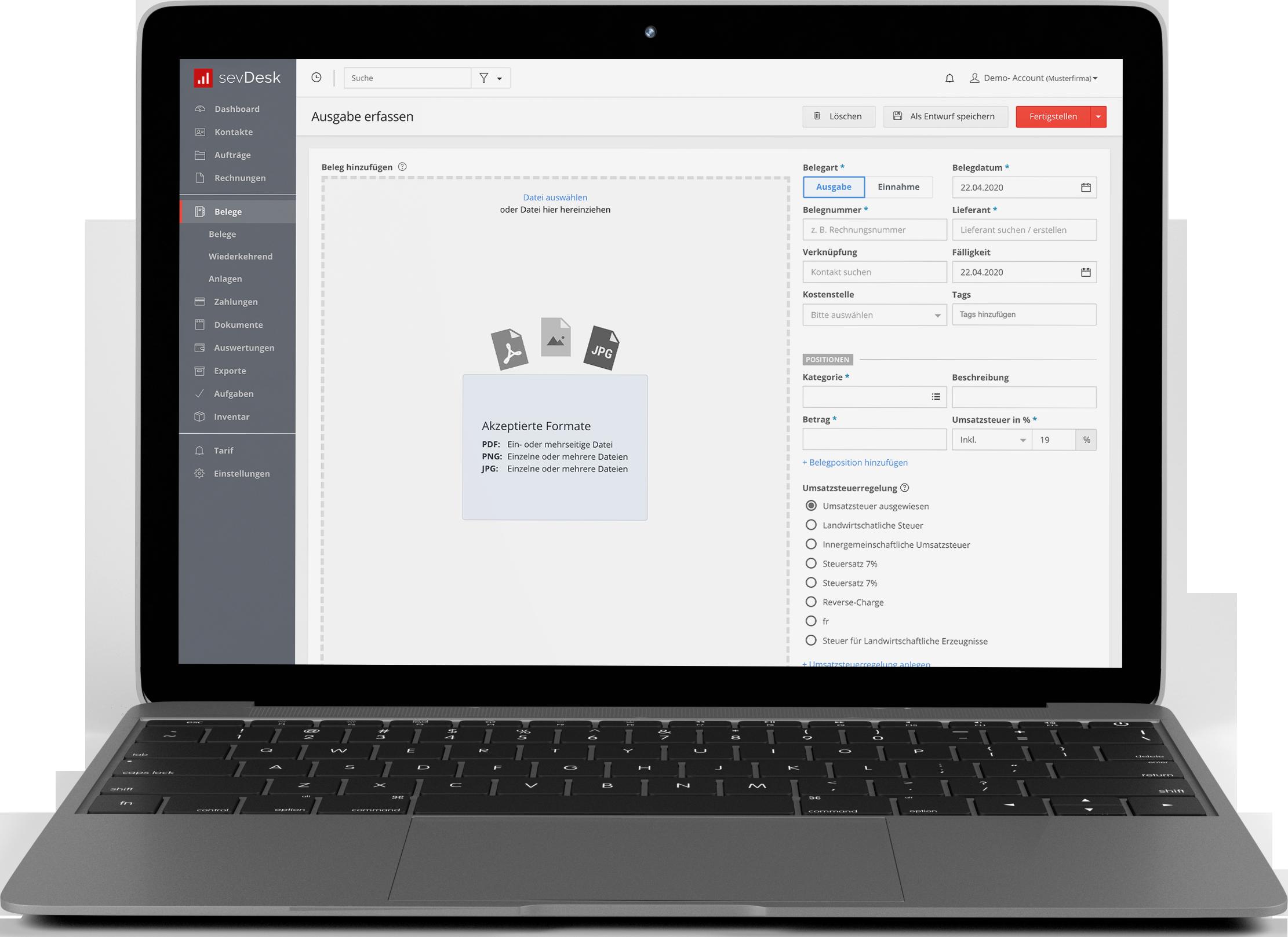 Belege erfassen Macbook