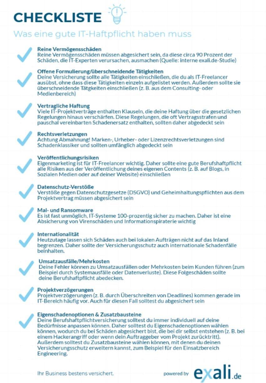 gute it haftpflicht checkliste