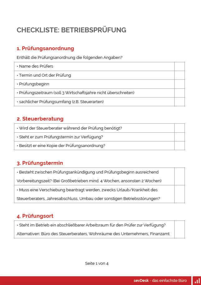 Checkliste Betriebsprüfung