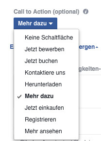 cta dropdown in facebook