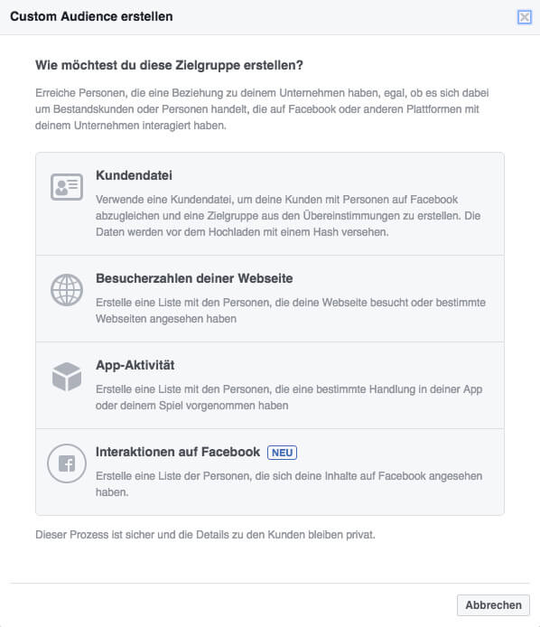 Zielgruppen Targeting in Facebook