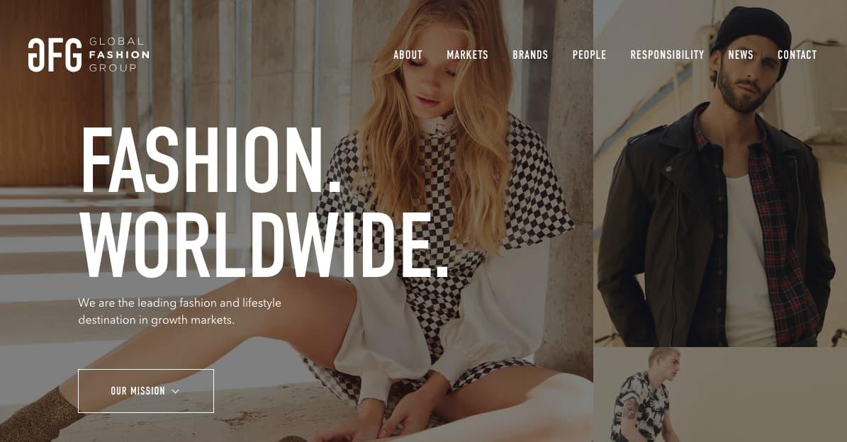 Website der Global Fashion Group