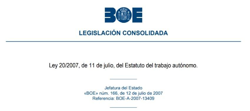 ley 20/2007 de 11 de julio estatuto del trabajo autonomo